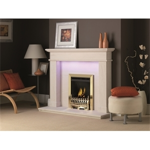Focus HE Slimline Coal Brass Blenheim in Balmoral Portuguese Limestone Surround